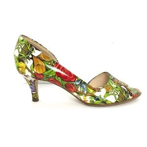 Peter Kaiser Masquerade Patent Leather Floral Peep Toe Art To Wear Shoe
